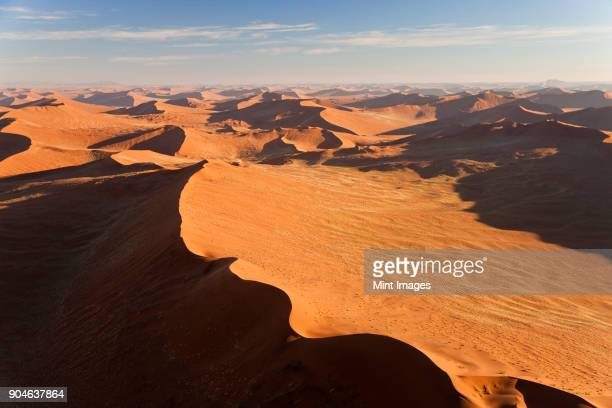 Aerial view of desert landscape.