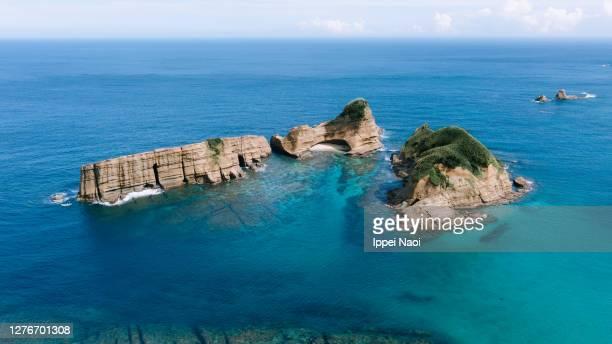 aerial view of deserted islands, tanegashima, kagoshima, japan - idyllic stock pictures, royalty-free photos & images