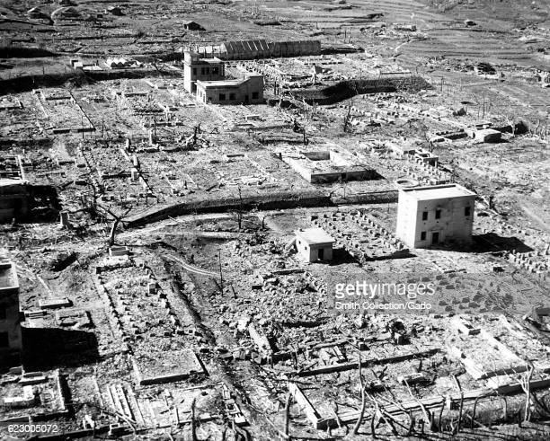 Aerial view of desolation and dilapidated structures following the atomic bombing of Japan 1945 Image courtesy US Department of Energy