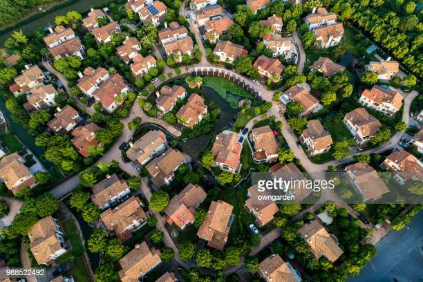 aerial view of detached duplex house - residential district stock pictures, royalty-free photos & images