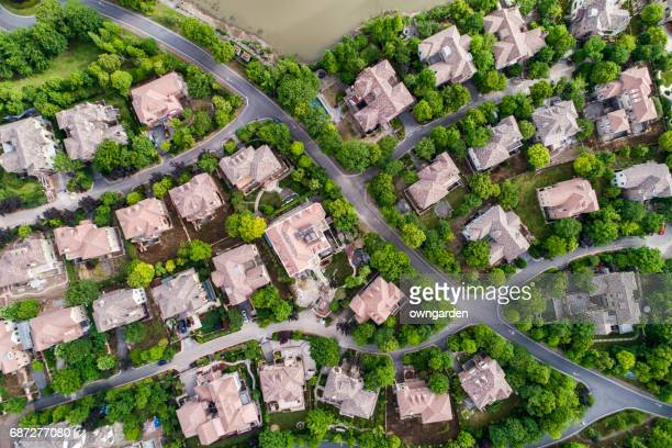 Aerial view of detached duplex houses