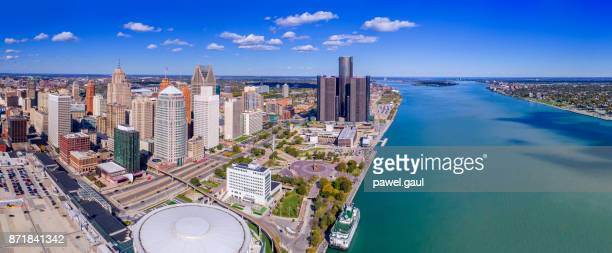 aerial view of detroit - detroit river stock pictures, royalty-free photos & images