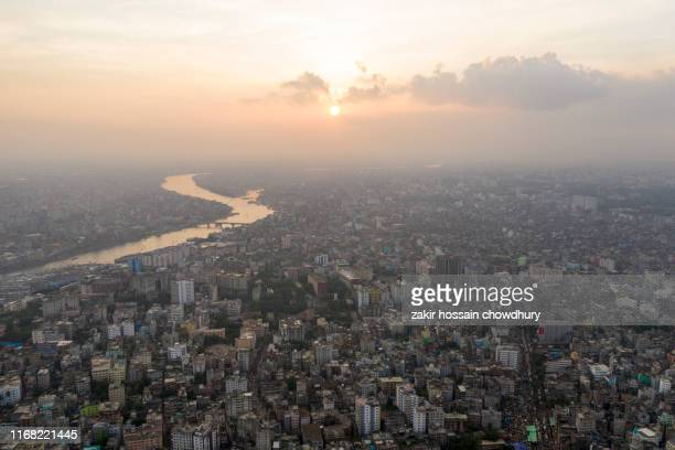 aerial view of dhaka city - bangladesh stock pictures, royalty-free photos & images