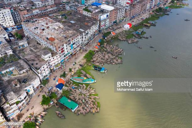 aerial view of dhaka the capital of bangladesh - demography stock pictures, royalty-free photos & images
