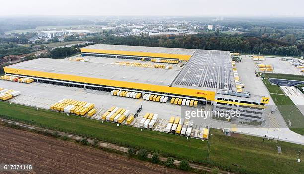 Aerial view of DHL/Deutsche Post distribution hub Obertshausen