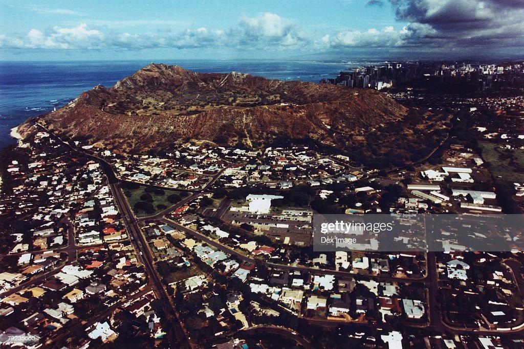 Aerial view of Diamond Head, Oahu, Hawaii : Stock Photo