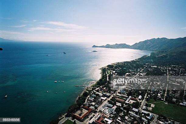 Aerial view of Dili Coastline and residential areas Civil Conflict escalates in East Timor Dili June 2nd 6th 2006