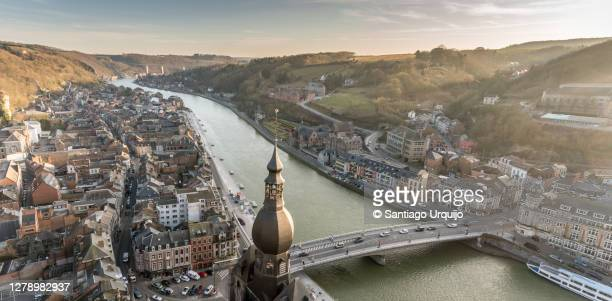 aerial view of dinant at sunset - ナミュール州 ストックフォトと画像
