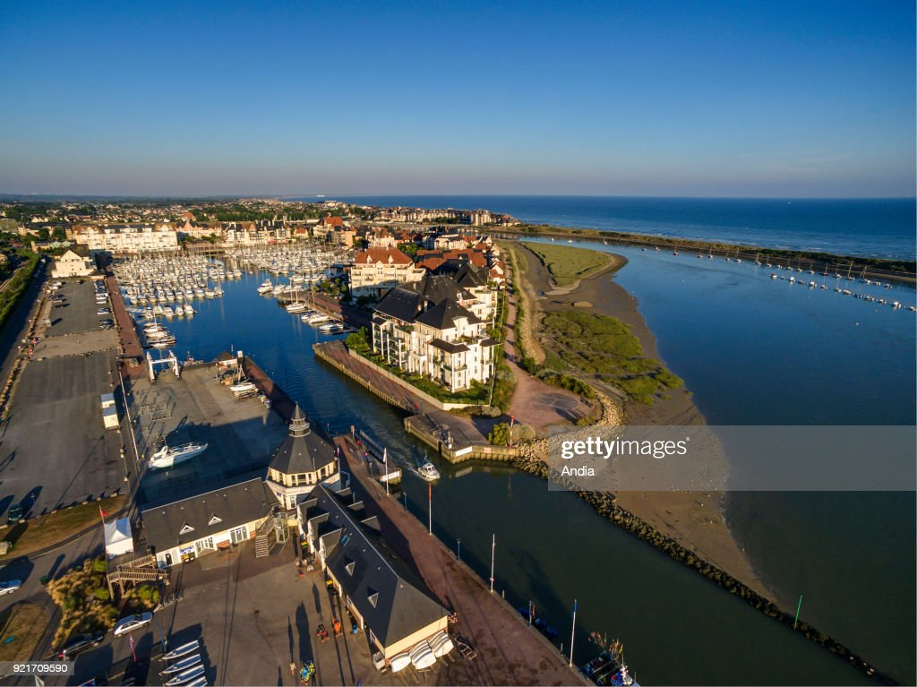 Aerial view of Dives-sur-Mer, a town along the 'cote Fleurie', part of the Lower Normandy coast.