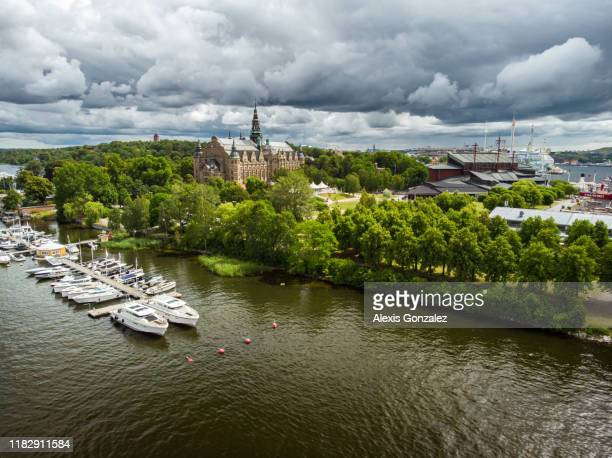 aerial view of djurgården island in stockholm - djurgarden stock pictures, royalty-free photos & images