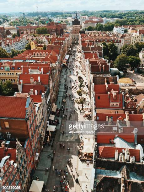 aerial view of dluga street in gdansk, poland - gdansk stock pictures, royalty-free photos & images