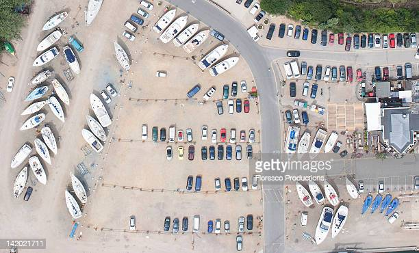 Aerial view of dock and parking lot