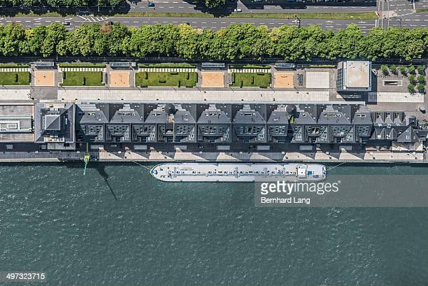 aerial view of docked freighter, rhine river - rhine river stock pictures, royalty-free photos & images