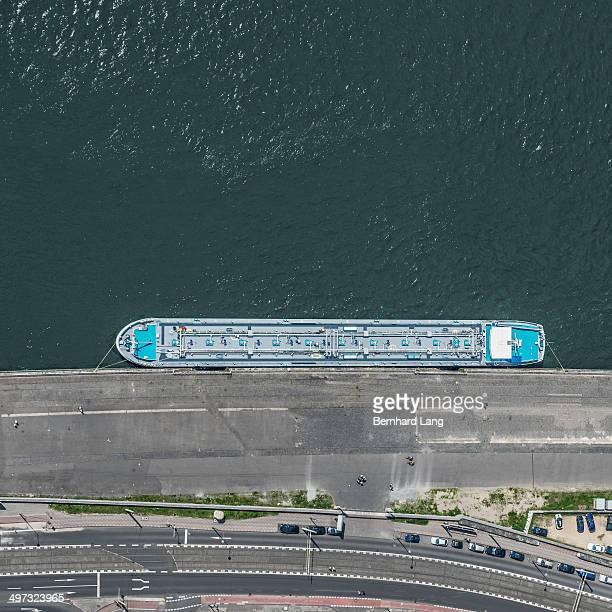 aerial view of docked transport ship - colónia renânia imagens e fotografias de stock