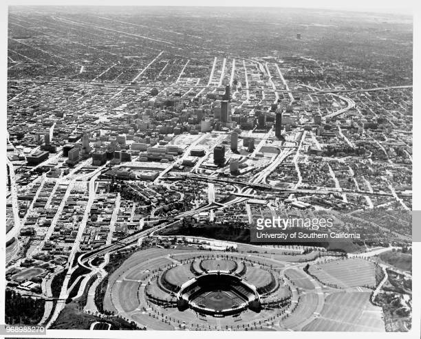 Aerial view of Dodger Stadium downtown Los Angeles looking south from the stadium Los Angeles California early to mid twentieth century