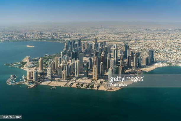 aerial view of doha city skyline, qatar. - doha stockfoto's en -beelden
