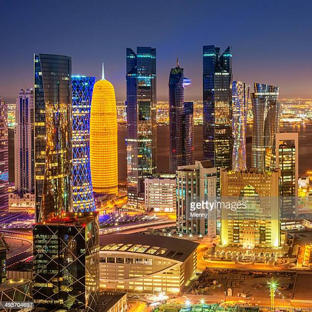 Aerial View of Doha City Skyline Qatar