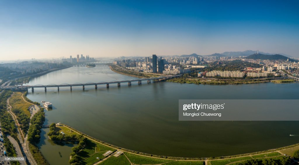 Aerial View Of Dongjak Bridge Cross Over Han River Into N ...