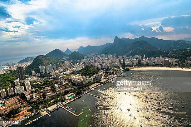 aerial view of dotafogo aerea. - botafogo brazil stock pictures, royalty-free photos & images
