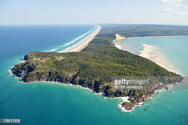 aerial view of double island point, queensland, australia - double stock photos and pictures