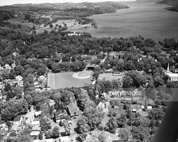 Aerial view of Doubleday Field in 1954 and the village of Cooperstown, New York. Doubleday Field is the baseball diamond used for the annual Baseball...