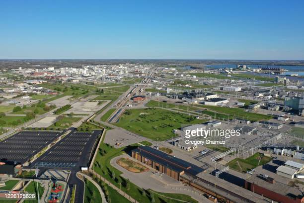Aerial view of DOW Chemical Complex on the Tittabawassee River on May 20 2020 in Midland Michigan Thousands of residents have been ordered to...