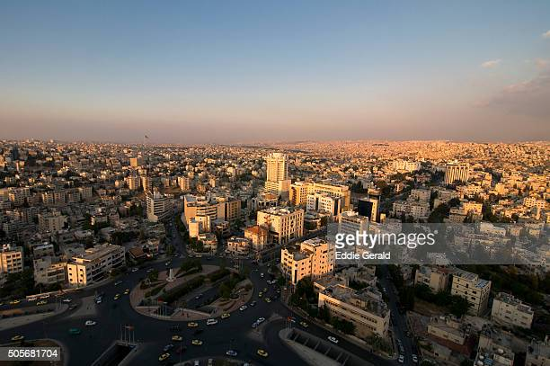 Aerial view of downtown Amman capital of the Hashemite Kingdom of Jordan