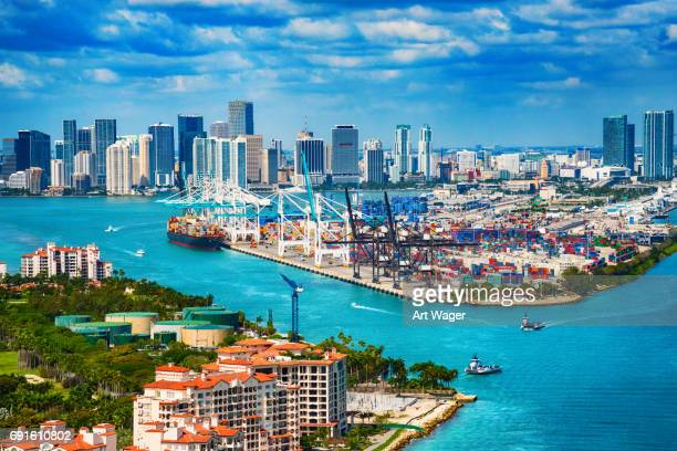 Aerial View of Downtown and the Port of Miami Dade