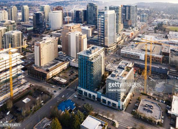 aerial view of downtown bellevue - bellevue skyline stock pictures, royalty-free photos & images