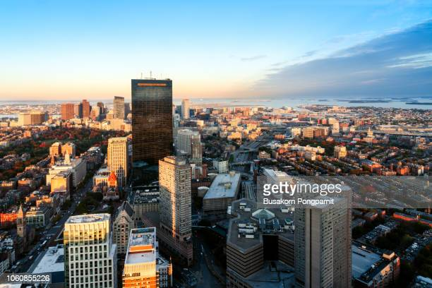 aerial view of downtown boston, massachusetts, usa. - boston massachusetts stockfoto's en -beelden