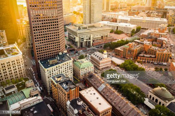 aerial view of downtown boston - massachusetts stock pictures, royalty-free photos & images