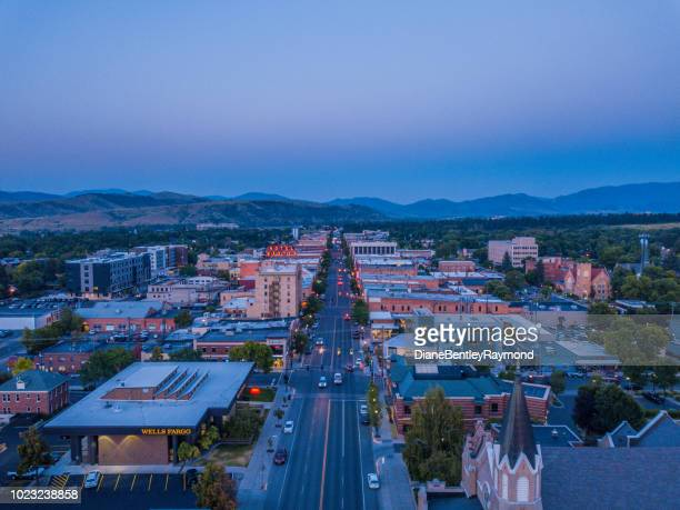 Aerial view of downtown Bozeman at twilight