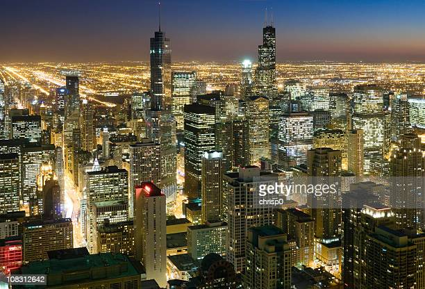 Aerial View of Downtown Chicago at Dusk