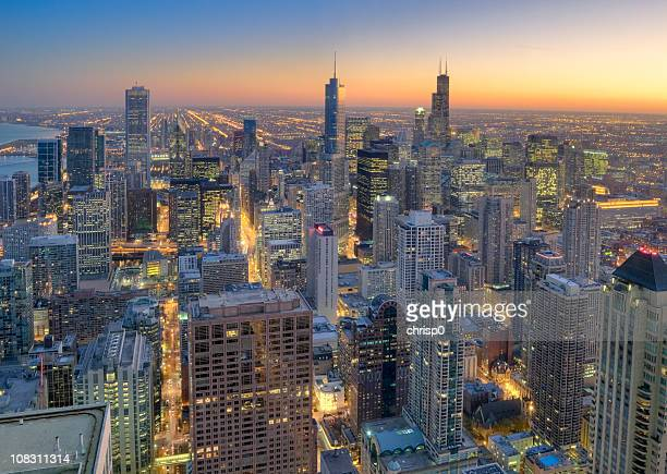Aerial View of Downtown Chicago at Sunset