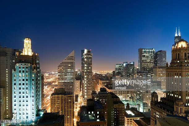 Aerial View of Downtown Chicago at Twilight
