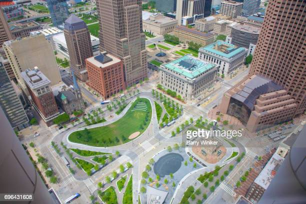 aerial view of downtown cleveland's public square - cleveland ohio stock pictures, royalty-free photos & images