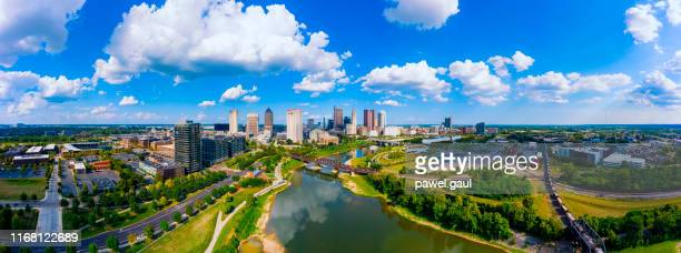 aerial view of downtown columbus ohio with scioto river - columbus ohio stock pictures, royalty-free photos & images