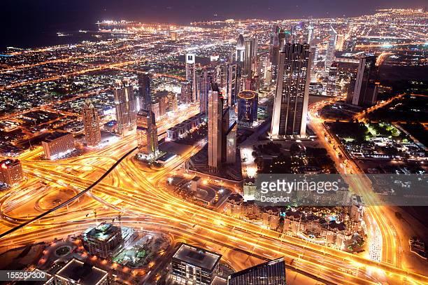 Aerial View of Downtown Dubai City Skyline UAE