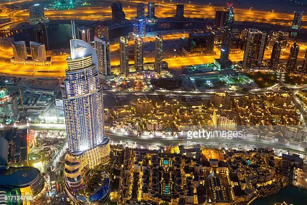 Aerial View of Downtown Dubai Illuminated at Night