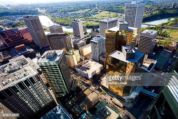 aerial view of downtown, edmonton, alberta, canada - edmonton stock pictures, royalty-free photos & images