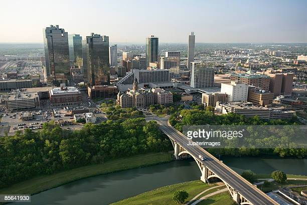 aerial view of downtown fort worth, texas - フォートワース ストックフォトと画像