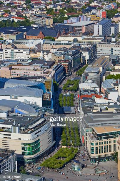 Aerial view of downtown Frankfurt at midday