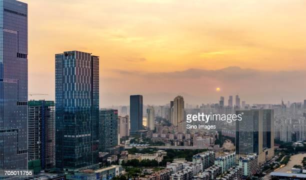 Aerial view of downtown Fuzhou, China