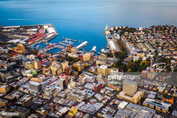 aerial view of downtown hobart, tasmania - hobart tasmania stock pictures, royalty-free photos & images
