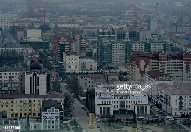 Aerial view of downtown in Grozny the Russian region of Chechnya on January 20, 2015. The new Grozny City development is the centerpiece of a...