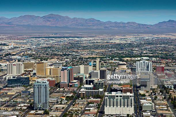 aerial view of downtown las vegas - the mirage las vegas stock pictures, royalty-free photos & images