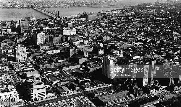 Aerial view of downtown Louisville and the Ohio River Louisville Kentucky 1950s
