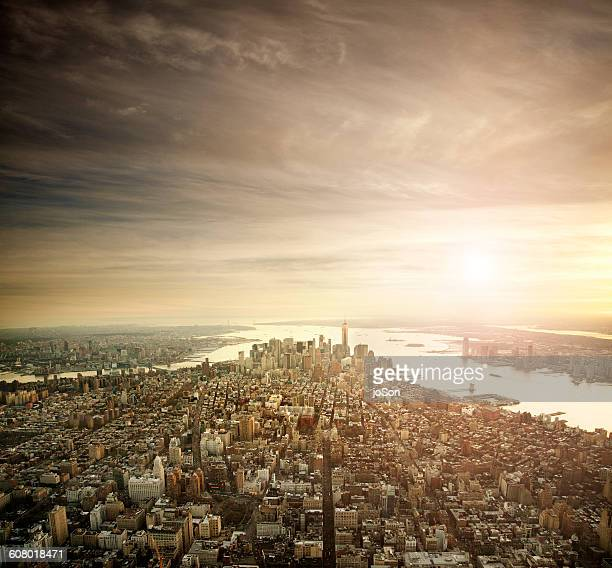 Aerial view of downtown Manhattan at sunrise