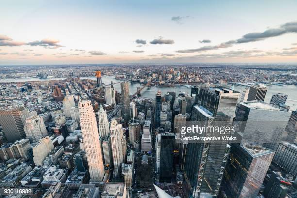 Aerial View of Downtown Manhattan, NYC
