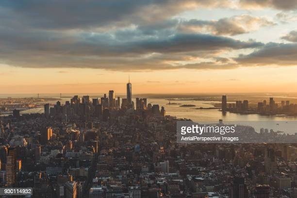 Aerial View of Downtown Manhattan Skyline at Sunset
